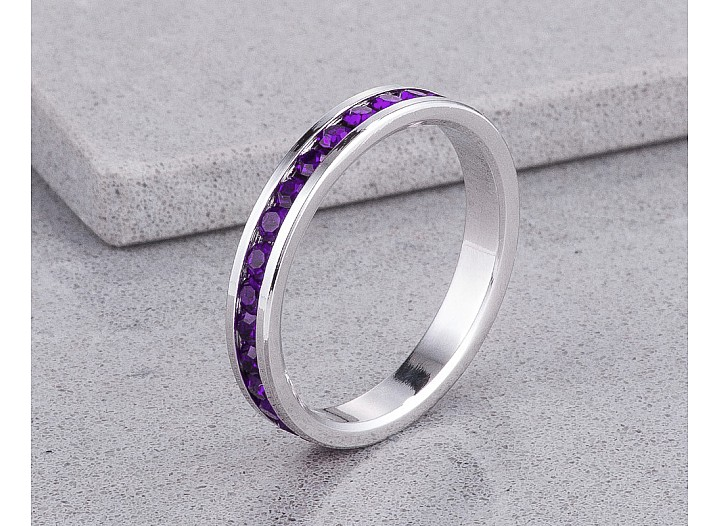 Sparkly Stackable Purple Crystal Eternity Band